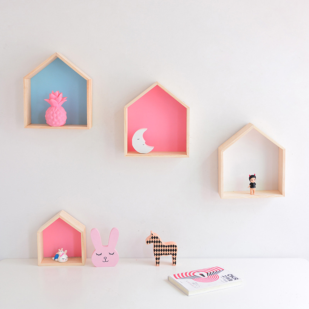 1PCS Wooden Small House Shelf Storage Rack Solid Wood Crafts Children Home Decoration Storage Wall Hanging Decoration