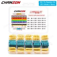 150 шт. (30 значений x 5 шт.) 2W 1% металлического пленочного набор резисторов 1ohm - 1M Ом 2 Вт Высокая точность MF фиксированное сопротивление комплект...