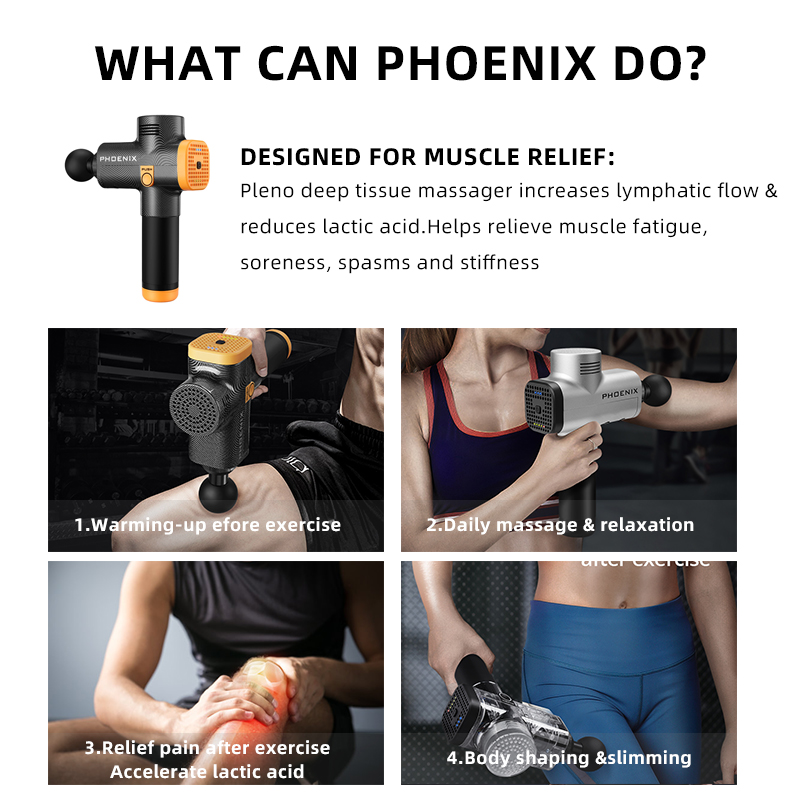 PHOENIX Muscle Massage Gun for Slimming Shaping Pain Relief Electric Physiotherapy therapy Tools Back & Body Hypervolt Massager - 4