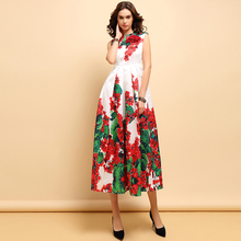 Baogarret Spring Summer Fashion Dress Womens Sleeveless Appliques Beading Floral Print Elegant Vintage Party Long Dresses