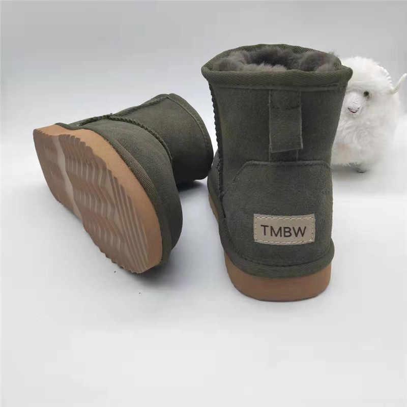 Hakiki deri doğal yün kar botları kadınlar sıcak kışlık botlar su geçirmez kaymaz kış ayakkabı kadın yarım çizmeler kadın çizme