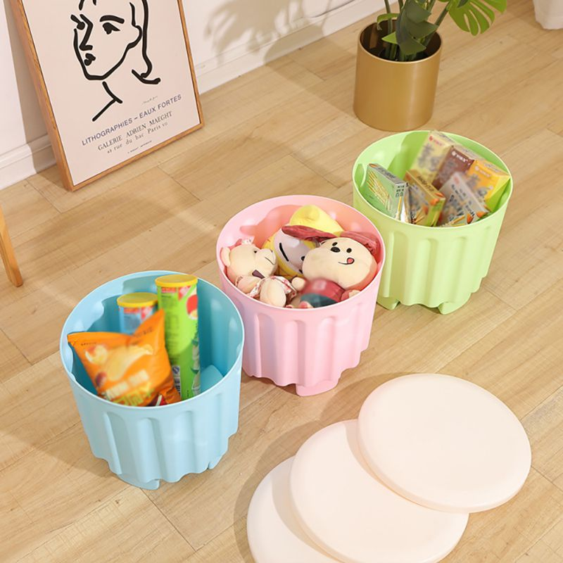 Children Cute Plastic Storage Stool Multi-function Stackable Practical Fashion Creative Storage Stool.