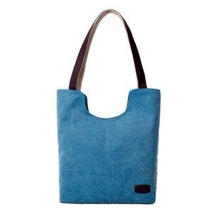 Image 4 - Sac à main en toile de couleur unie, sac à main marque de luxe, sacs à main de bonne qualité, sacs de Shopping en coton grande capacité automne et hiver