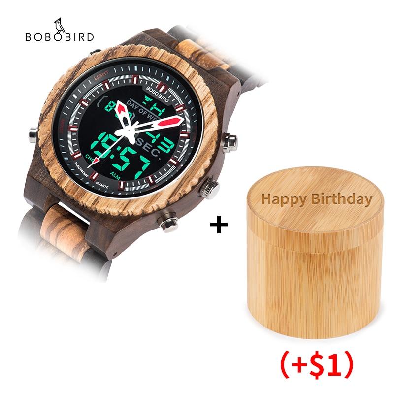 Relogio Masculino BOBO BIRD Men Watch Wood Wristwatch LED Dual Display Auto Date Luminous Hands Engrave Text On Box OEM