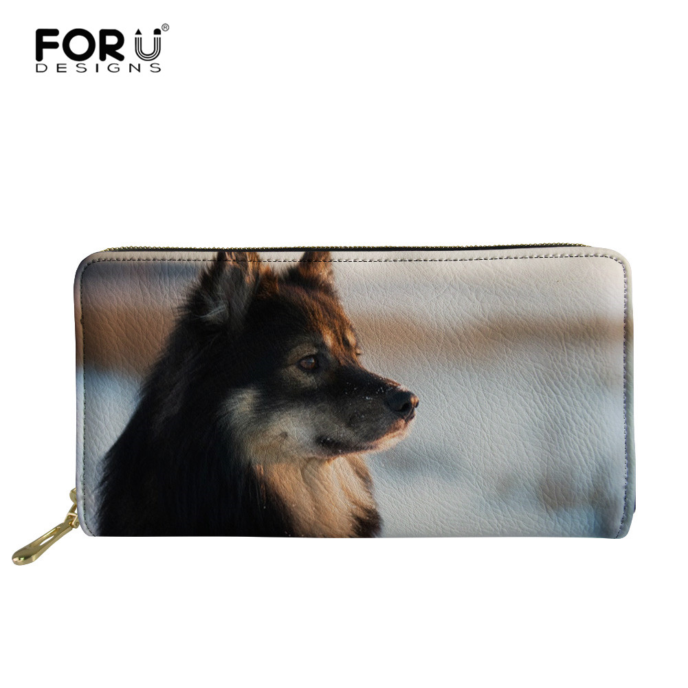 FORUDESIGNS Leather Wallet Women Long Clutch Finnish Lapphund Dog Ladies Phone Bag Purse Multi-card Holders Portefeuille Femme