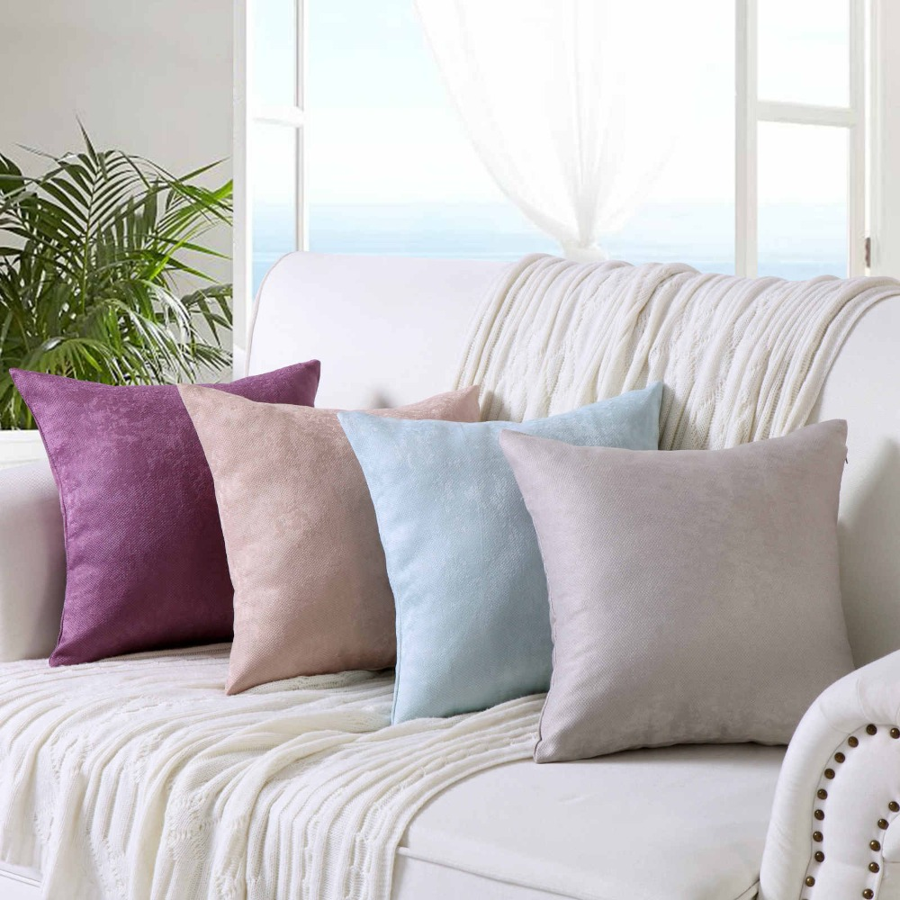 Home Office Comfortable Seat Cushion Bar Chair Back Sitting Solid Color  Sofa Pillows