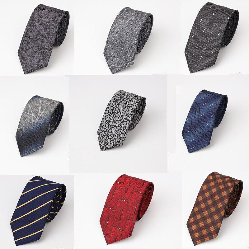 Fashion 6.5cm Mens Skinny Tie Luxury Necktie For Silver Gray Red Wedding Party Gravata Slim Para Homens