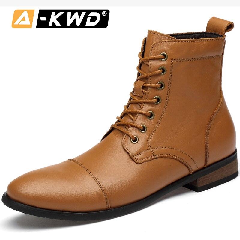 Fashion Shoes 2019 Black Light-Brown Man Boots Shoes Autumn Men Leather Shoes High Top Men Boots Botas De Hombre Men's Ankle Shoes Men's Shoes Casual Shoes Fashion Genuine Leather