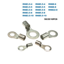 50/25/10Pcs Ring Bare Cord End Crimp Terminals Electrical Naked Wire Cable Connector RNB3.5/5.5/8/22 Ferrules 4-25mm2 12-4AWG