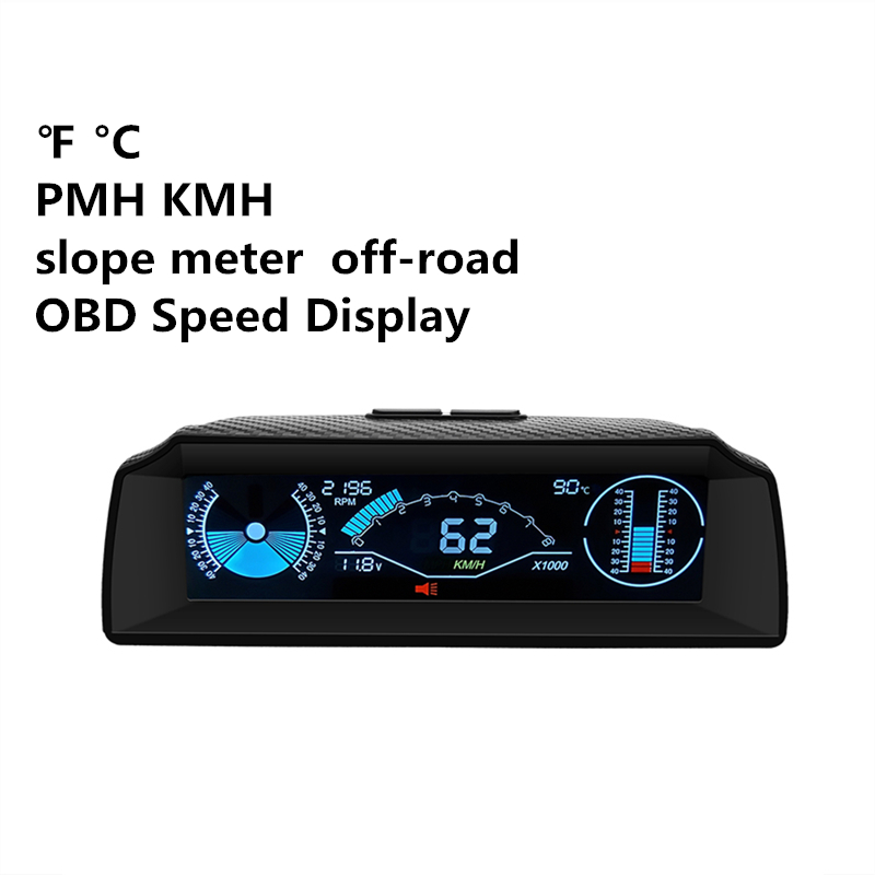 AUTOOL X90 OBD Slope Meter Inclinometer Car HUD Automotive Tilt Pitch Angle Protractor Latitude Longitude Smart Speed PMH KMH