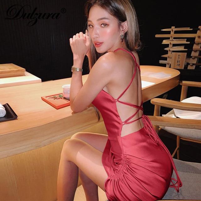 Dulzura Satin Women Strap Mini Dress Ruched Lace Up Cross Bandage Backless Bodycon Sexy Party Elegant 2020 Club Christmas Slim 3