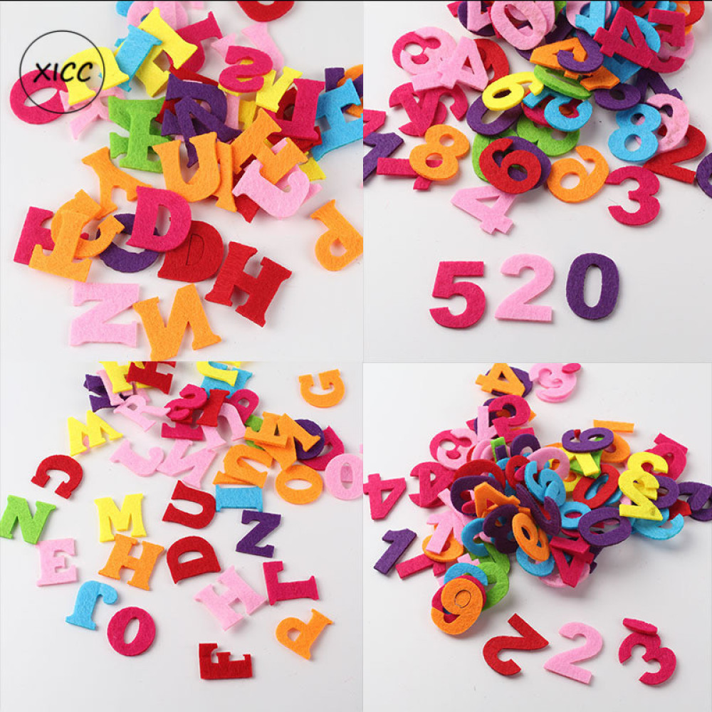 XICC 50pcs Digital Letters Wool Felt Pads Fabric Crafts Name Patches Children Kids Handmade Polyester DIY For Sewing Dolls Toys