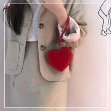 2021 New Fashion Women Cute Heart Shaped HandBag Female Plush Love Coin Wallet Valentine's Day Gift  Hand Purses for Ladies