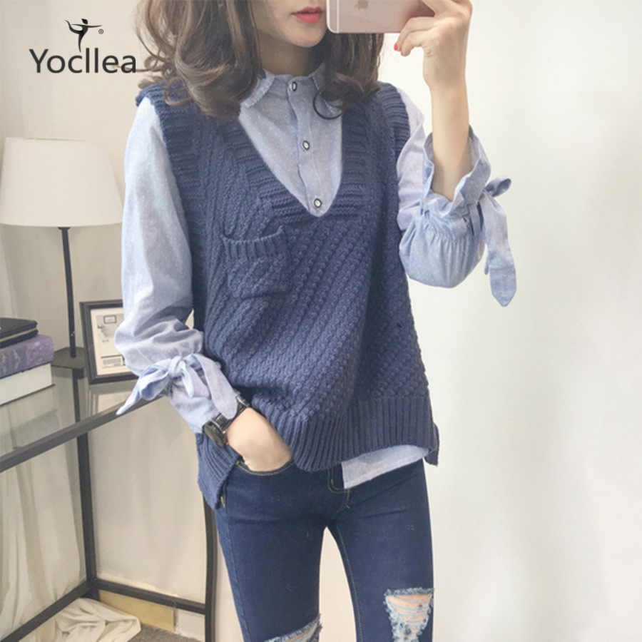 V-Neck Sweater Sleeveless Vest Women 2019 New With Pokcet Irregularity Knitted Sweaters Office Lady Loose Fashion Vests Tops