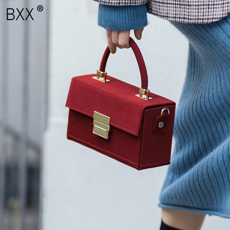 [BXX] 2020 Spring Women New Temperament Corduroy Box Shaped Portable All Match Bag Female Single Shoulder Crossbody Bag LI627
