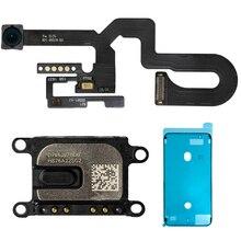 Rosto câmera frontal com sensor de proximidade luz microfone cabo flexível + orelha pedaço fita impermeável para iphone 7plus 8 plus