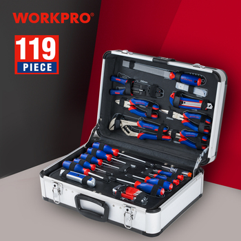 цена на WORKPRO 119PC Aluminum Tool box Set Household Tool Set Hand Tools Screwdriver Set Wrenches Pliers