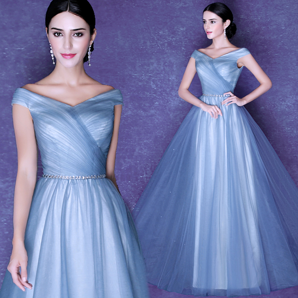 New Hot Sexy Robe De Soiree Cap Sleeve A-line Evening Dress 2015 Vestido Longo Tulle Crystal Long Prom Dresses Formal Gown