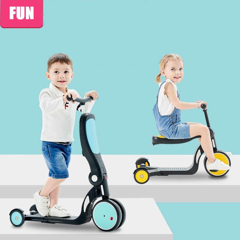 Bambini Scooter calcio Monopattino + Triciclo + Bilanciamento della moto Per 1 ~ 6 Età Bambino Giro Sul Giocattolo Della Ragazza del Ragazzo bambino di Scooter Regolabile