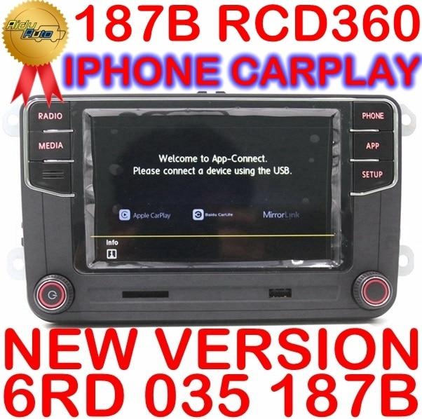 CarPlay RCD360 RCD 360 MIBวิทยุอัตโนมัติMirrorLink 6RD 035 187BสำหรับVW Golf 5 6 Jetta MK5 MK6 POLO passat B6 B7 CC Tiguan Touran