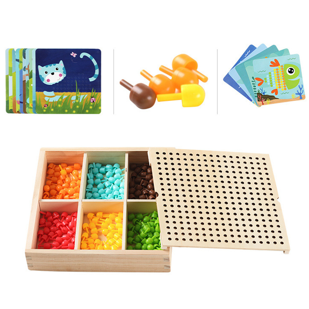 240pcs Kids Educational Toys 3D Mushroom Nail Intelligent Puzzle Games With Wood Storage Box Mosaic Peg Board Puzzle DIY