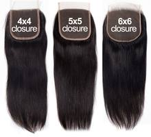 Lace Closure Swiss Silky Straight Human Hair 4x4 5x5 6x6 Remy Malaysian Hair Pre Plucked Lace Closures With Baby Hair