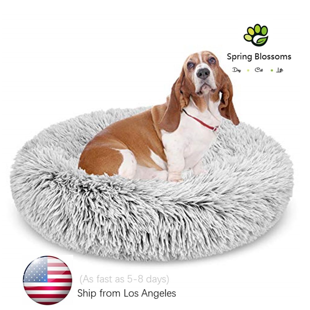 Fluffy Shag Cuddler Pet Blanket,Super Soft Warm Long Plush Round Dog Bed,Winter Doughnut Sleeping Mat For Large Cat-United State 1