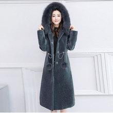 Duoupa 2019 Autumn And Winter Womens Fur Coat Wool Hooded Faux One Sheep Shearing Long Fox Collar