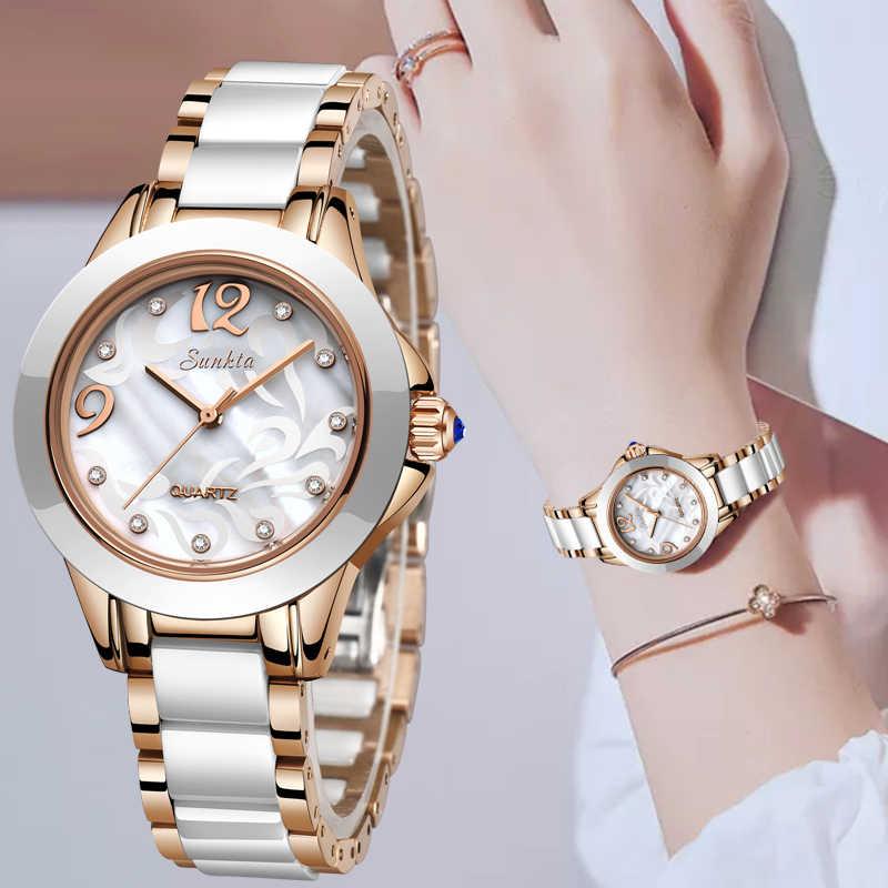 SUNKTA luksusowe zegarek kryształowy kobiety prezent wodoodporny złota róża panie zegarki na rękę Top marka bransoletka zegar Relogio Feminin Hot