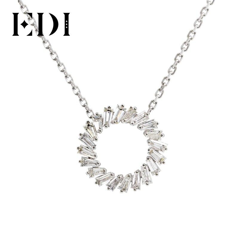EDI Kranz Form Diamant Anhänger Reale Natürliche Smaragd Cut Diamant 585 14k Weiß Rose Gelb Gold Anhänger Halskette Für frauen-in Anhänger aus Schmuck und Accessoires bei  Gruppe 1
