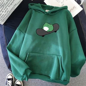 Zimowa deskorolka żaba bluza oversize mężczyźni i kobiety bluzy Harajuku ciepły sweter sznurkiem Harajuku Plus rozmiar bluzka kobieca tanie i dobre opinie COTTON POLIESTER CN (pochodzenie) Zima Przednia kieszeń Bluzy z kapturem REGULAR Pełne Zima 2020 Polar wyszywana F033