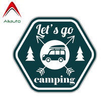 Aliauto Funny Let's Go Camping PVC Car Sticker for Volkswagen Tiguan Polo Golf Skoda Superb 2 Toyota,14CM*13CM(China)