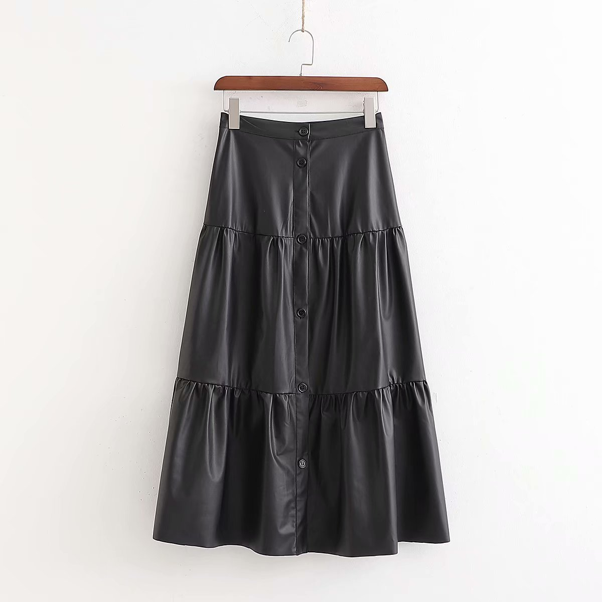 Women Chic Black PU Leather Midi Skirt Buttons High Waist Basic Female Casual Mid Calf Stylish Skirts Mujer