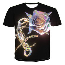 2021 men's short-sleeved t-shirt 3D printing trend crystal necklace, geometric creative design, simple color art, urban style