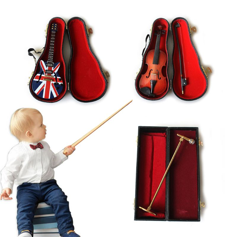 1Set Newborn Baby Photography Props Unique Guitar Violin Microphone Musical Instruments Toy Infants Photoshoot Kit