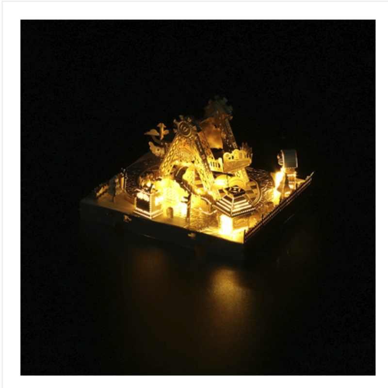 ثلاثية الأبعاد لتقوم بها بنفسك لغز معدني نموذج Pmusement بارك مع أضواء قطع بانوراما أفضل الهدايا لمحبي الأصدقاء الأطفال جمع التعليمية