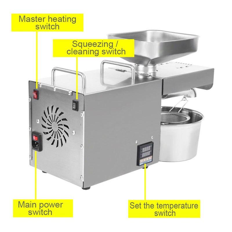 220V 1500W (Max) temperatuur Gecontroleerde Rvs Oliepers Familie Kleine Elektrische Koudgeperste Automatische Pinda Kokosnoot - 4