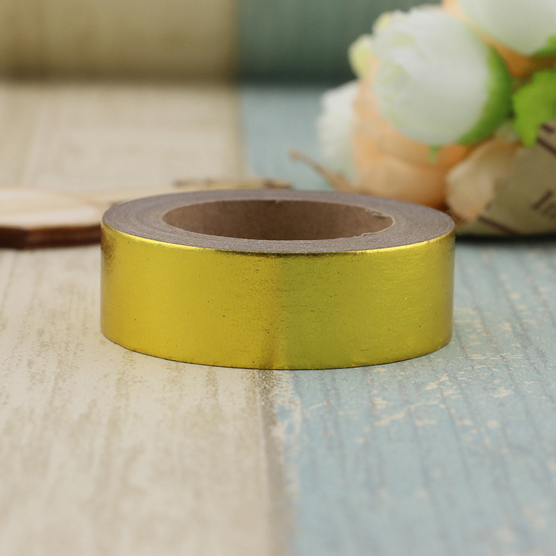 Купить с кэшбэком 1X 15mm*10m Gold Foil Washi Tape Silver/Gold/Bronze/Rose/Green/purple Color Japanese Kawaii DIYScrapbooking Tools Masking Tape