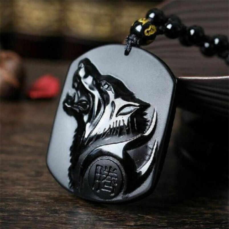 Patung Tembaga 100% Alami Seperti Obsidian Ukiran Tangan Hewan Serigala Kepala Mendominasi Pria Gaya Beruntung Amulet Liontin Kalung