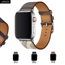 URVOI Printed Single Tour band for apple watch series 5/4 3/2/1 Swift Leather strap for iWatch wrist Handmade 38 40 42 44mm