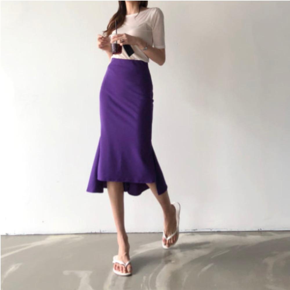 Elegant office lady skirt women bodycon high waist skinny ruffles female Midi Skirts