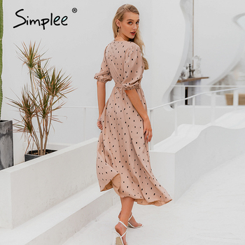 Simplee Polka dot women wrap dress Elegant puff sleeve a line v neck sash party dress Wrap work wear streetwear retro maxi dress 8