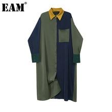 EAM-vestido holgado de manga larga con solapa nueva para primavera y otoño, traje de mujer de Color verde con contraste, talla grande, 1Z644, 2021