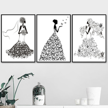 Fashion Girl Rose Butterfly Dress Wall Art Canvas Painting Nordic Posters And Prints Pictures For Living Room Home Decor