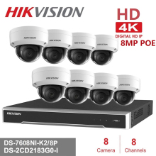 8CH Hikvision POE NVR Video Surveillance Kits with  8MP IP Camera Network Security Night Vision CCTV Security System Kits