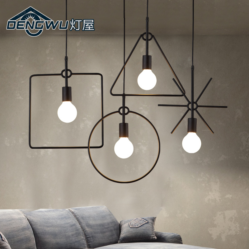 House Loft Retro Office Chandelier Cafe Americano Hall Lamp Iron Industrial Wind Personality Living Room Chandelier Pendant