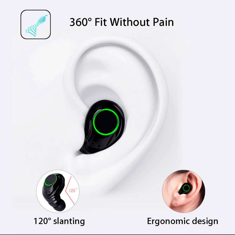 Tws True Bluetooth 5.0 Earphones Wireless Earbuds Dual Earpieces Mini Twins Stereo In-Ear Earphone With Micr For Smart Phone
