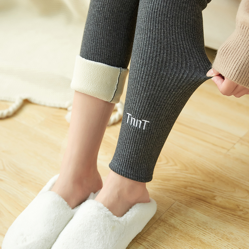 GUMPRUN Plus Size Fall Winter Black Warm Pants Embroidery Skinny Thick Cashmere Girls Pencil Leggings For Women Casual Leggins