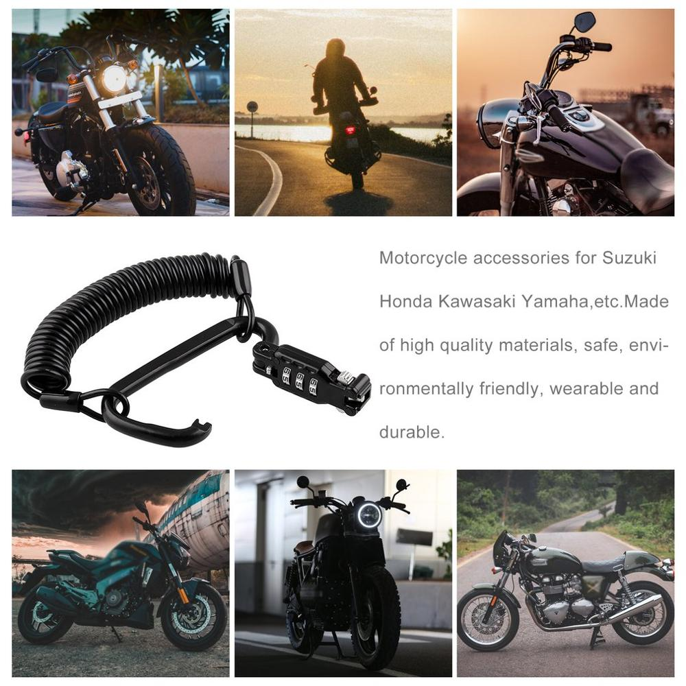 Motorcycle Helmet Password Anti-Theft Lock Universal Telescopic Spring Motorcycle Password Rope Lock Device