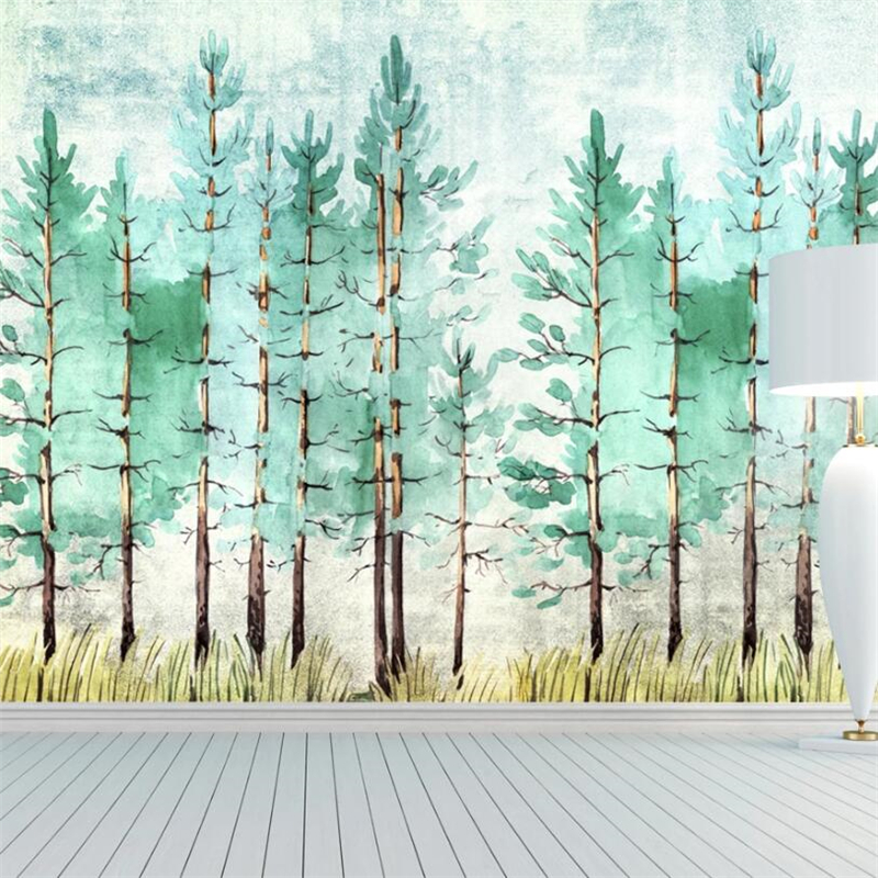 Beibehang Custom Large Mural Nordic Watercolor Painting Simple Electric Green Forest View Background Wallpaperpapel De Pare